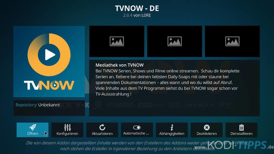 TV NOW Kodi Addon installieren - Schritt 6