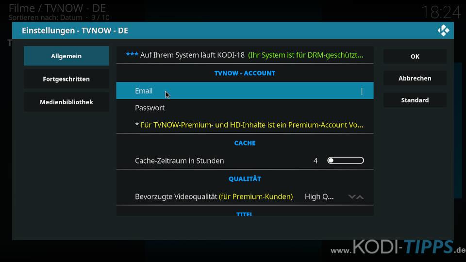 TV NOW Premium Account eintragen - Schritt 2