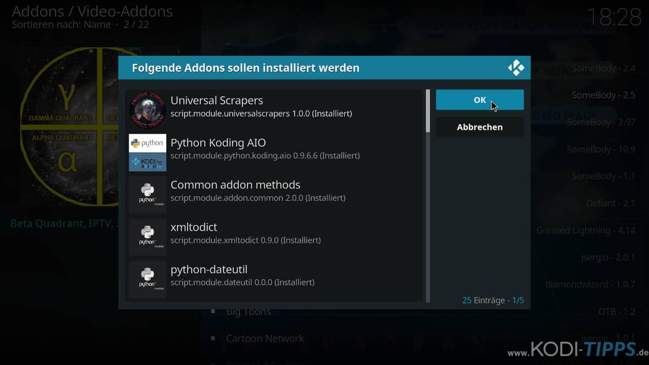Beta Quadrant Kodi Addon installieren - Schritt 10
