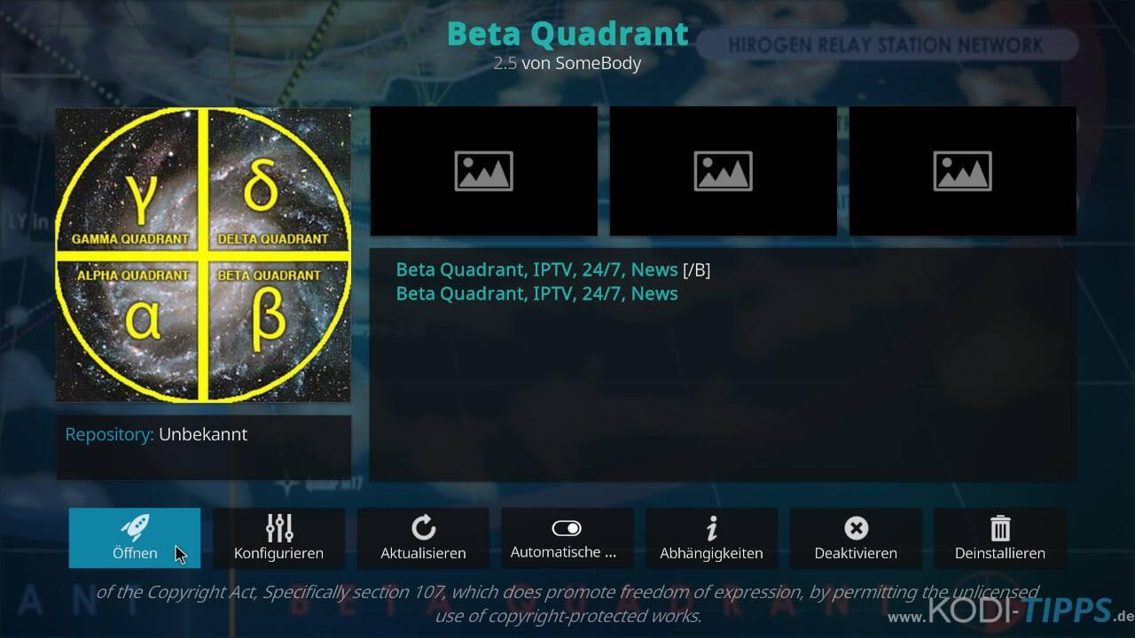 Beta Quadrant Kodi Addon installieren - Schritt 12