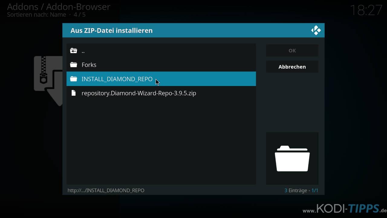 Beta Quadrant Kodi Addon installieren - Schritt 2