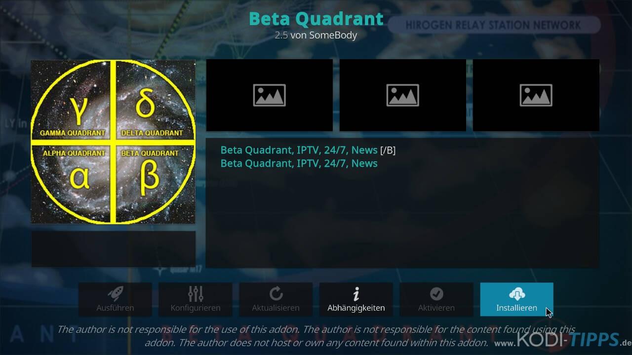 Beta Quadrant Kodi Addon installieren - Schritt 9