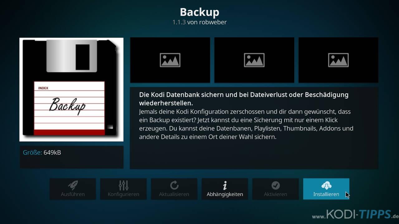 Kodi Backup Addon installieren - Schritt 3