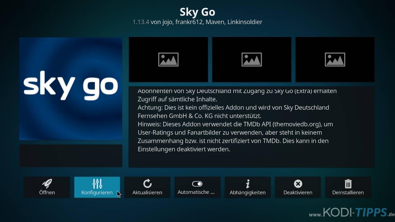Sky Go Kodi Cache leeren - Schritt 2