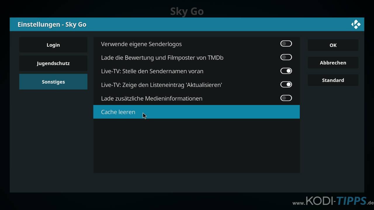 Sky Go Kodi Cache leeren - Schritt 3