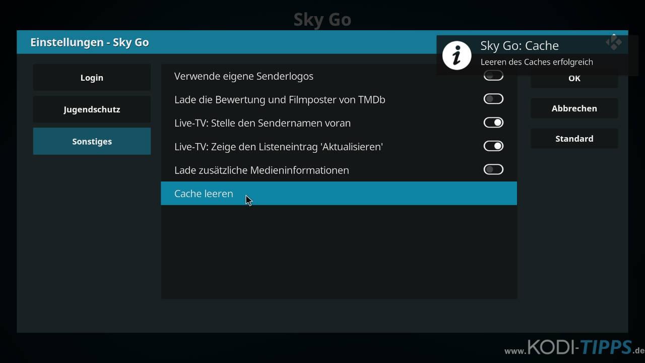 Sky Go Kodi Cache leeren - Schritt 4