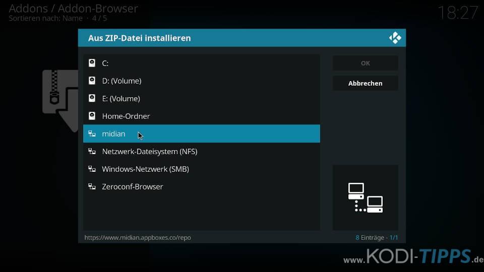 GOTO Kodi Addon installieren (C:\>Goto) - Schritt 1