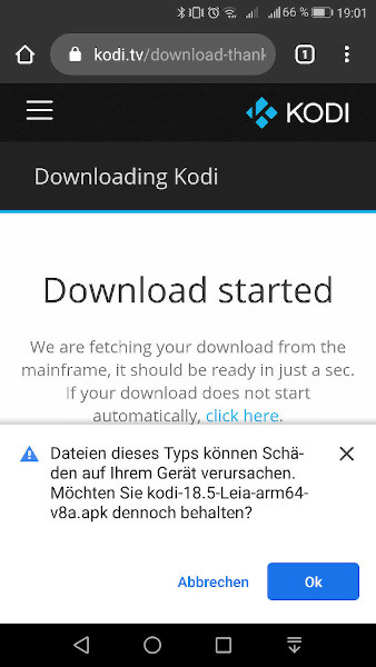 Kodi manuell per APK-Datei installieren - Schritt 2