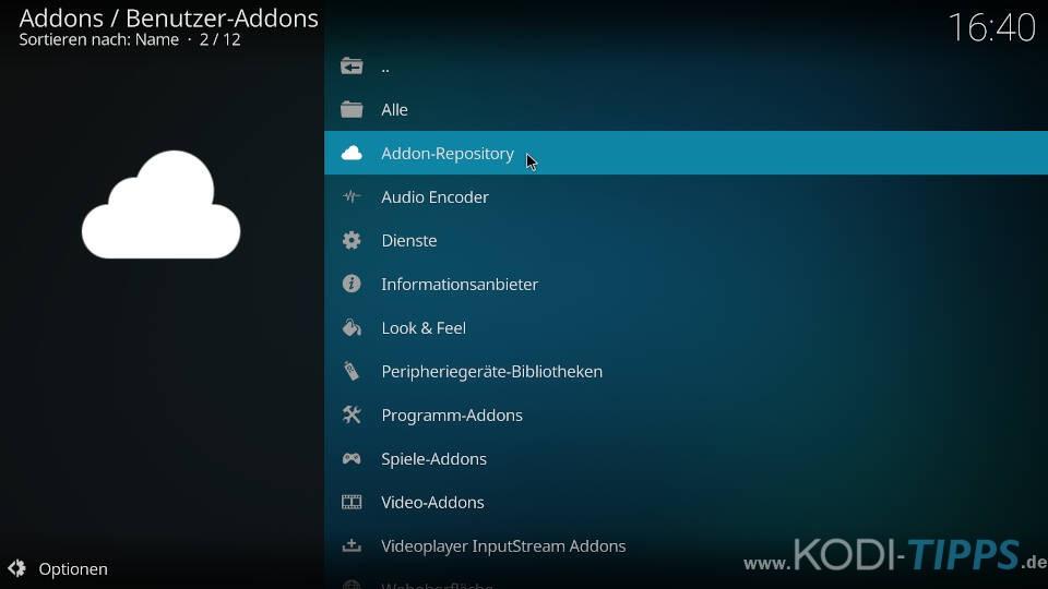 Kodi Repository deinstallieren - Schritt 2