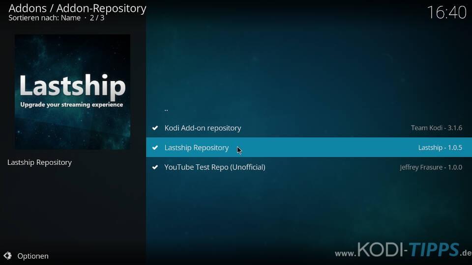Kodi Repository deinstallieren - Schritt 3