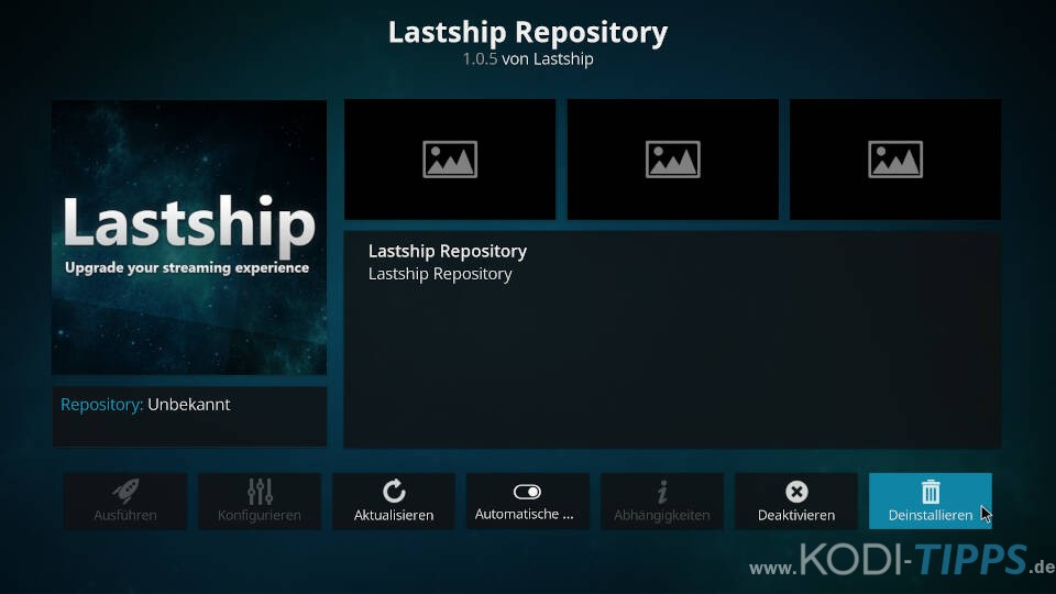 Kodi Repository deinstallieren - Schritt 4
