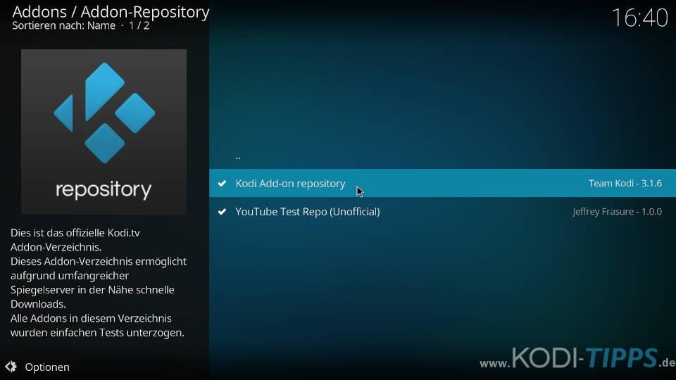 Kodi Repository deinstallieren - Schritt 6