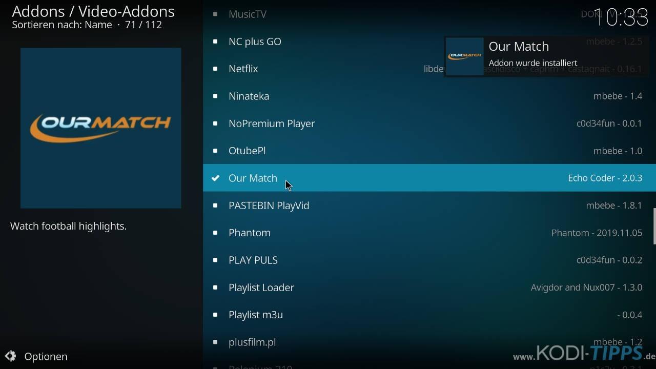 Our Match Kodi Addon installieren - Schritt 10