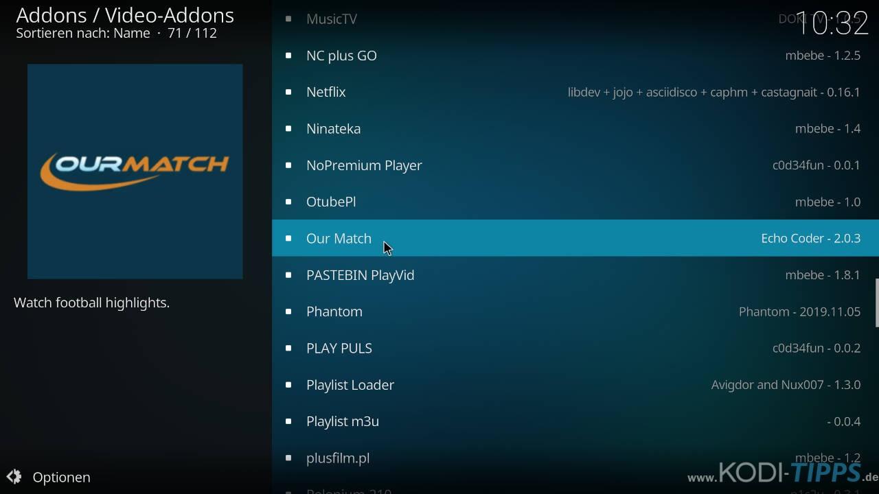 Our Match Kodi Addon installieren - Schritt 7