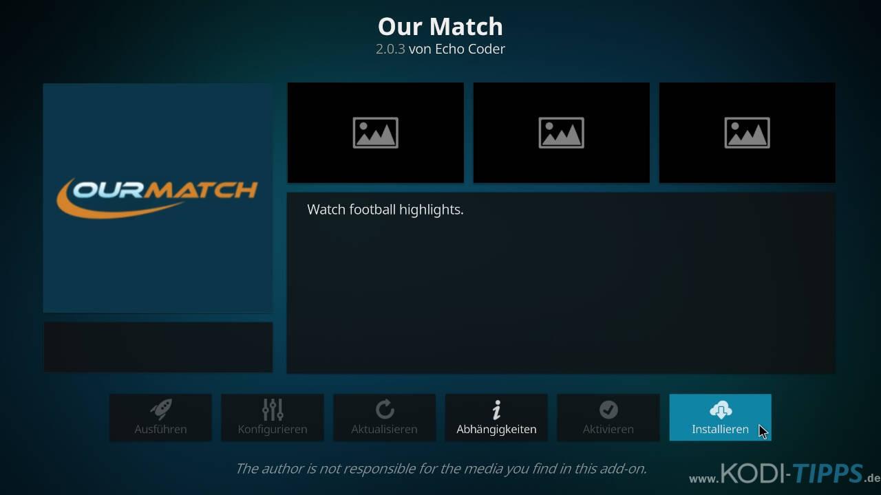 Our Match Kodi Addon installieren - Schritt 8