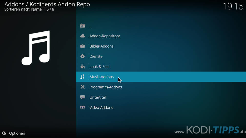 YouTube Music Kodi Addon installieren - Schritt 1