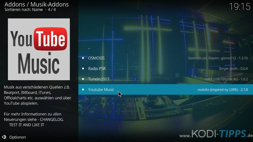 YouTube Music Kodi Addon installieren - Schritt 2