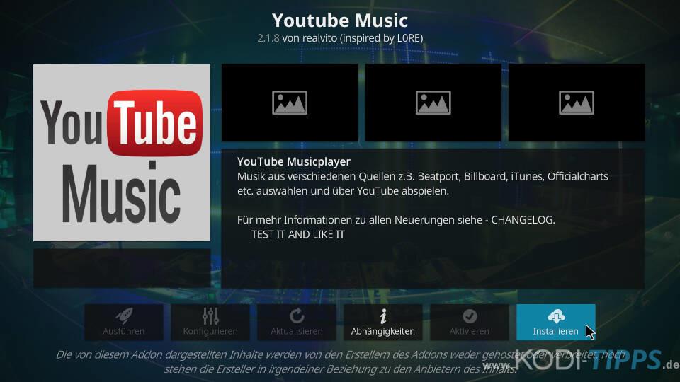 YouTube Music Kodi Addon installieren - Schritt 3