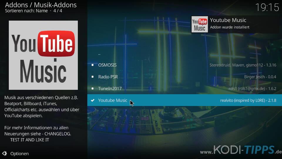 YouTube Music Kodi Addon installieren - Schritt 5