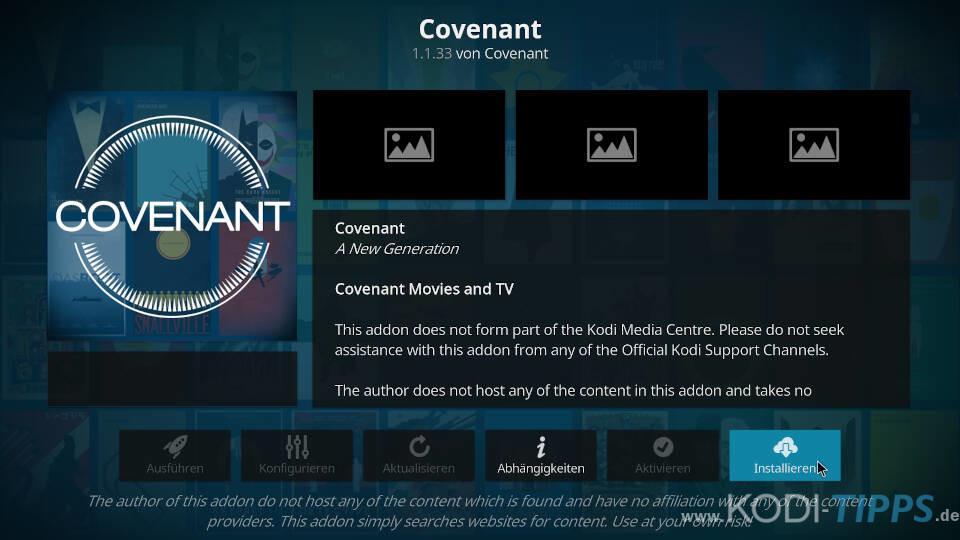 Covenant Kodi Addon installieren - Schritt 8