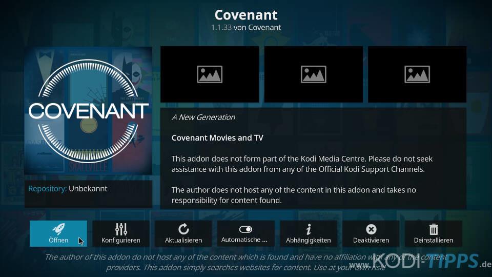 Covenant Kodi Addon installieren - Schritt 11