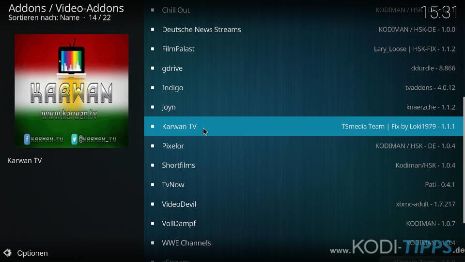 Karwan TV Kodi Addon installieren - Schritt 2