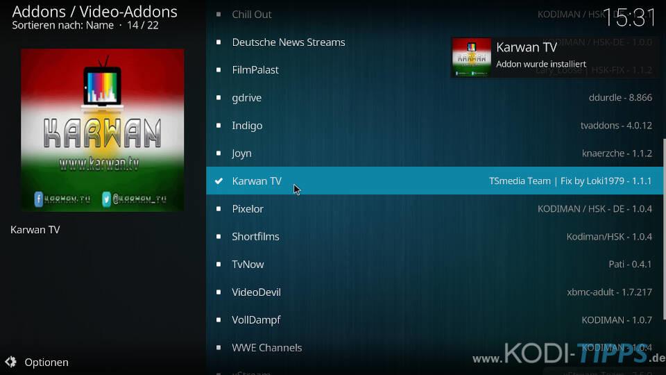 Karwan TV Kodi Addon installieren - Schritt 4