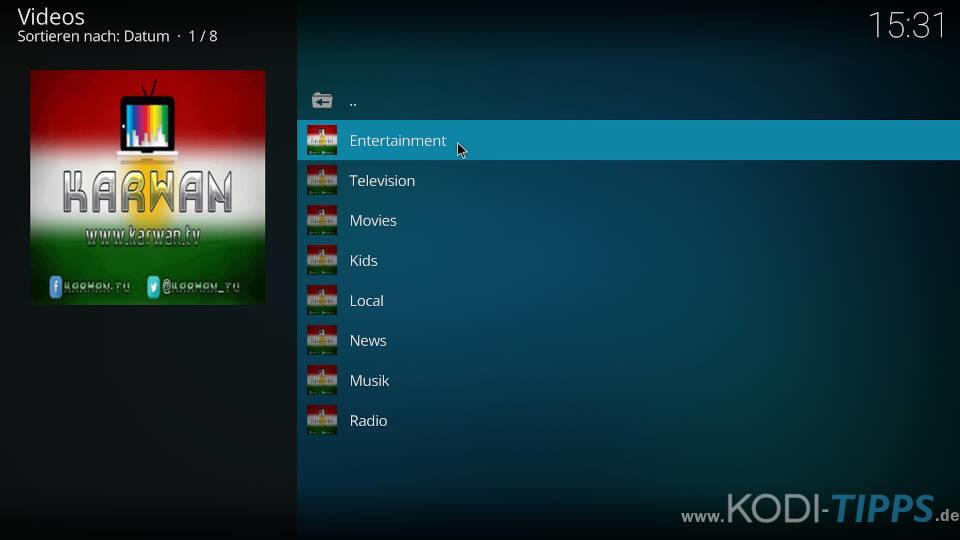 Karwan TV Kodi Addon installieren - Schritt 6