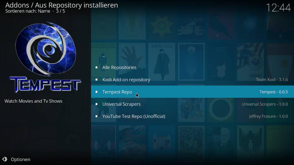 Tempest Kodi Addon installieren - Schritt 5