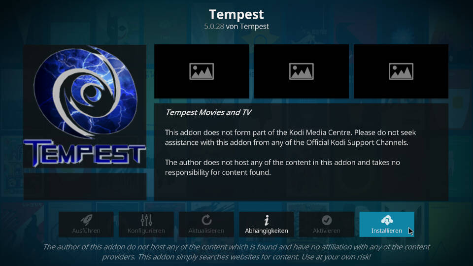 Tempest Kodi Addon installieren - Schritt 8
