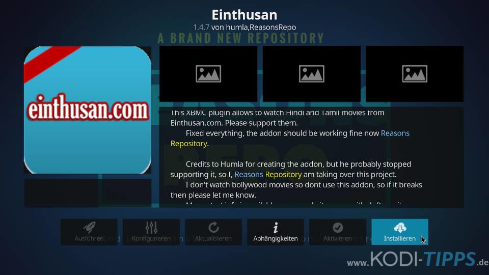 Einthusan Kodi Addon installieren - Schritt 8