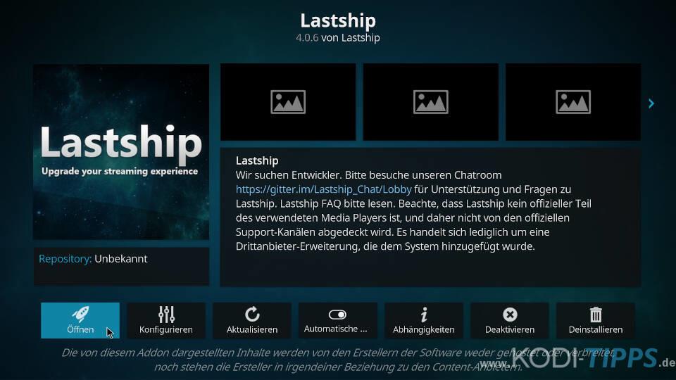 Lastship Kodi Addon installieren - Schritt 10