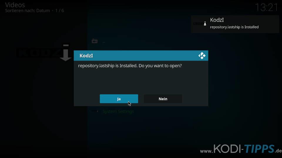 Lastship mit dem Kodzi Kodi Addon installieren - Schritt 5
