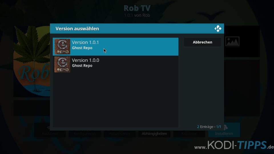 Rob TV Kodi Addon installieren - Schritt 4