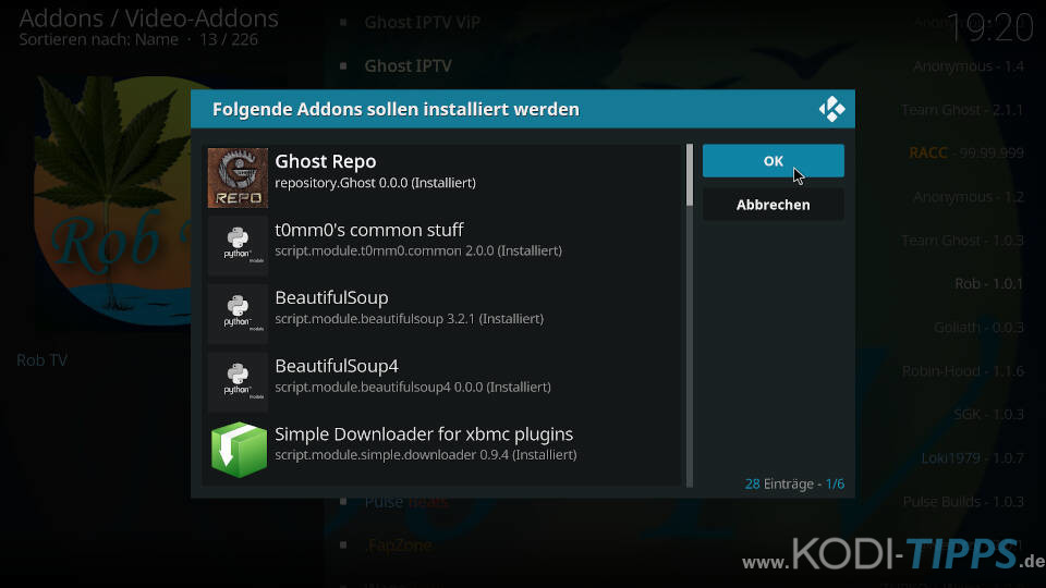 Rob TV Kodi Addon installieren - Schritt 5