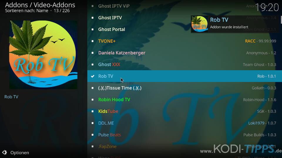 Rob TV Kodi Addon installieren - Schritt 6