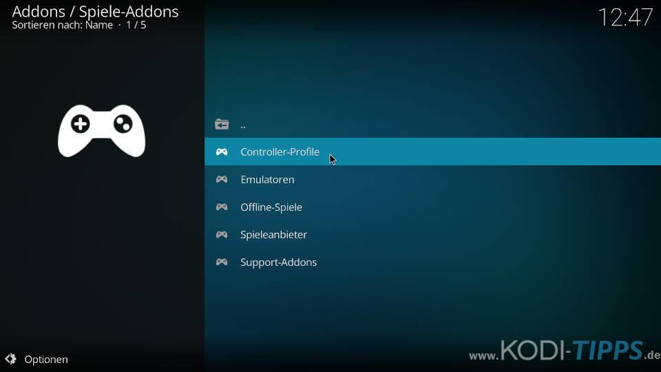Controller-Profile herunterladen und konfigurieren - Schritt 2