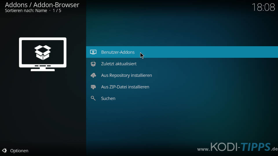 Kodi Addon-Browser Benutzer-Addons