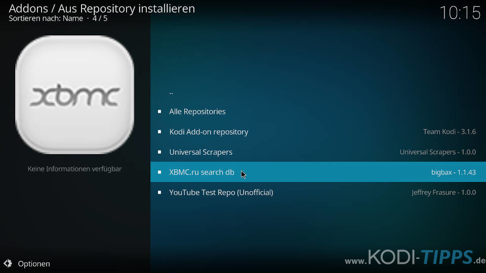 XBMC.ru Search DB Kodi Repository öffnen
