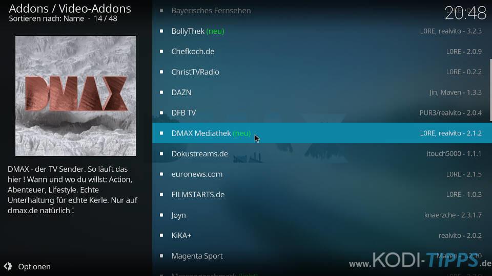 DMAX Mediathek Kodi Addon installieren - Schritt 2