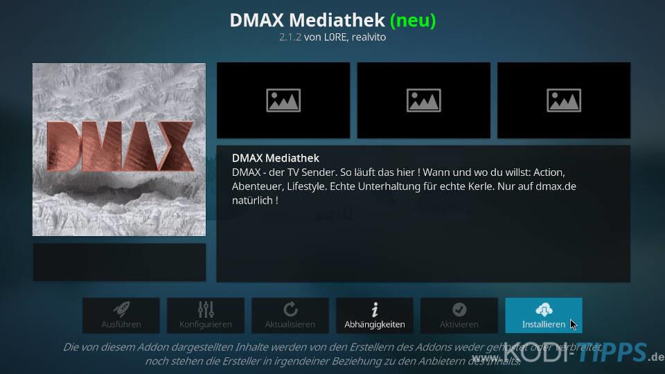 DMAX Mediathek Kodi Addon installieren - Schritt 3