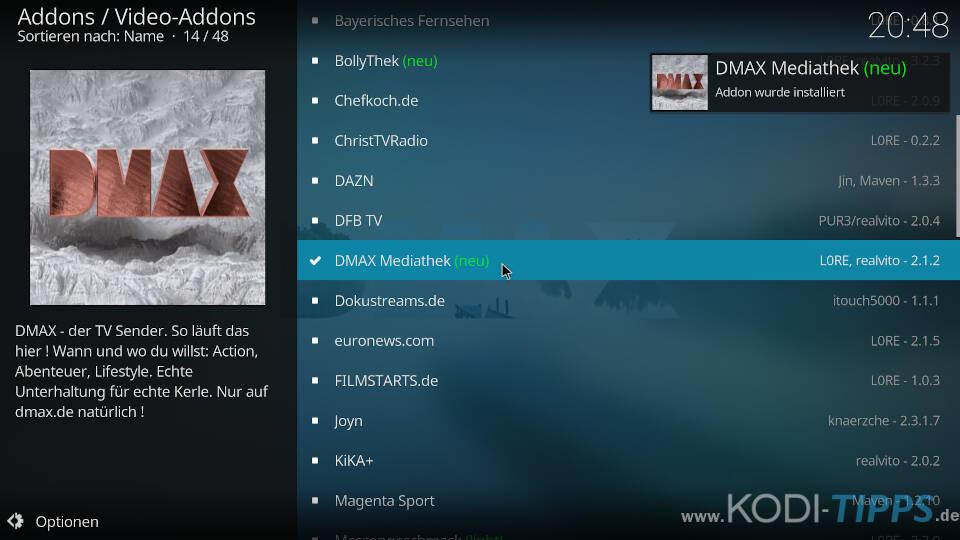 DMAX Mediathek Kodi Addon installieren - Schritt 5