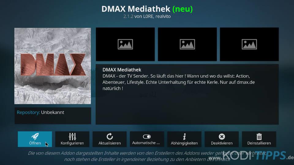 DMAX Mediathek Kodi Addon installieren - Schritt 6