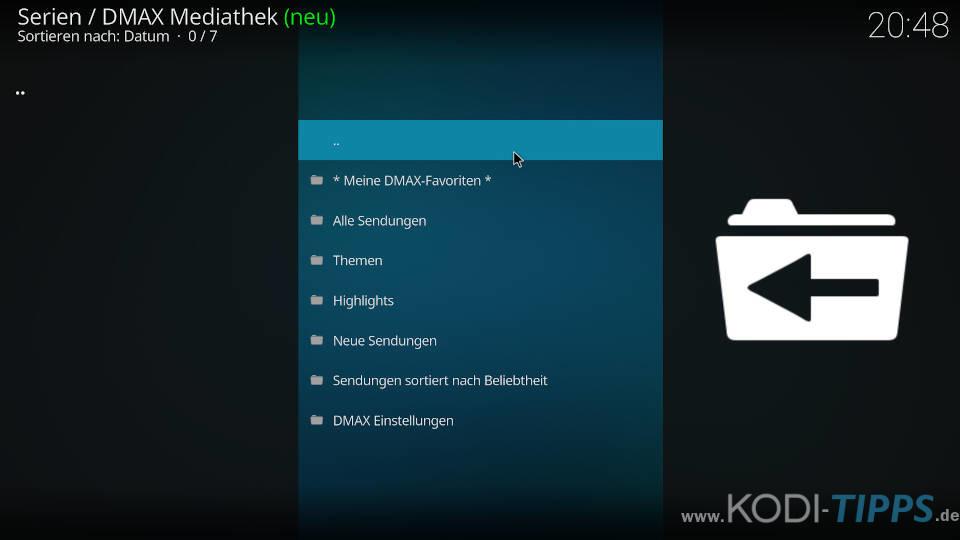 DMAX Mediathek Kodi Addon installieren - Schritt 7