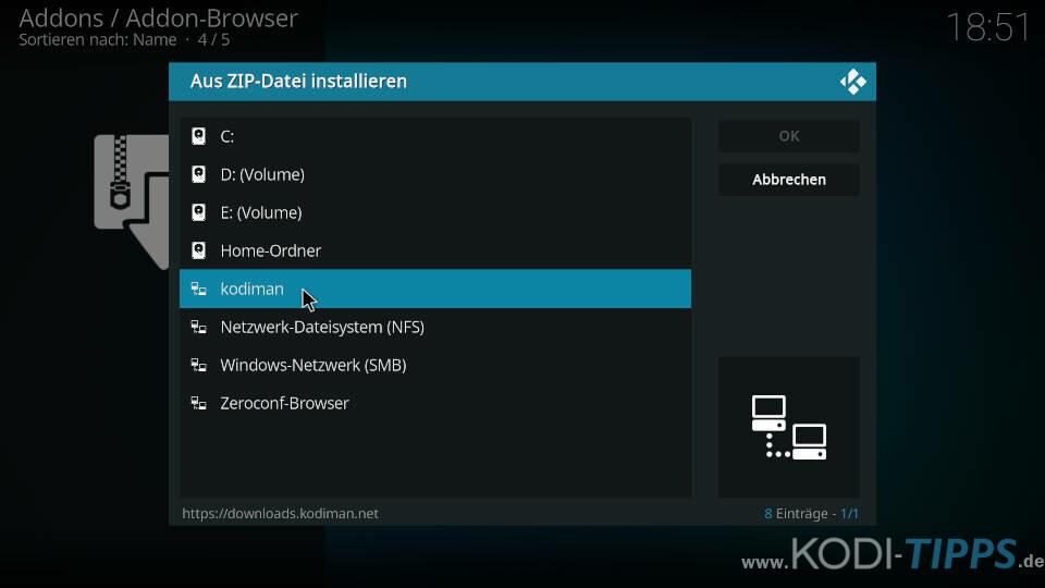Kodiman Repository installieren - Schritt 1