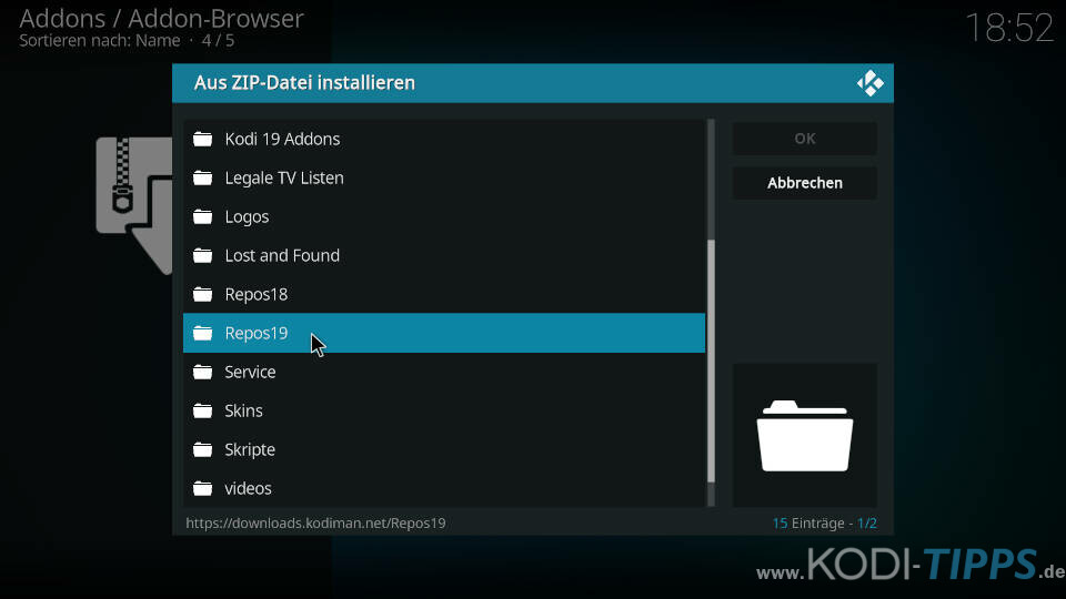 Kodiman Repository installieren - Schritt 2