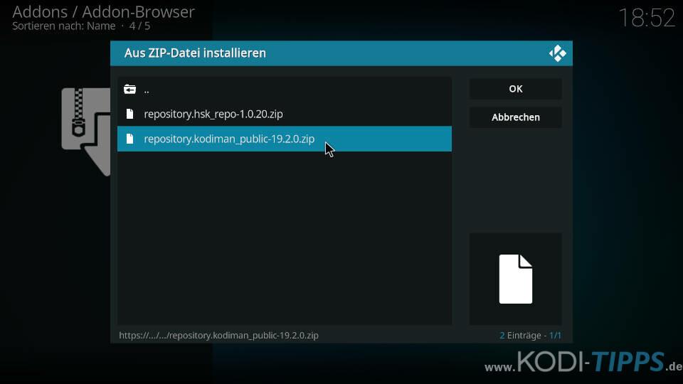 Kodiman Repository installieren - Schritt 3