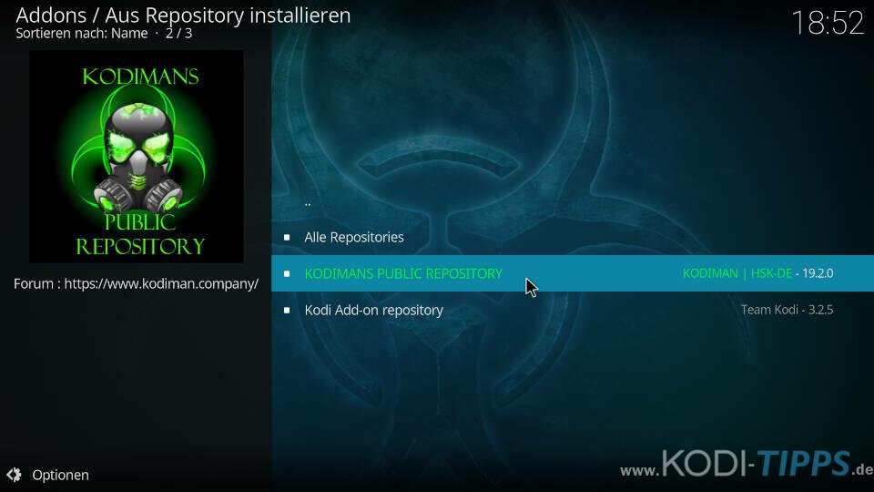Kodiman Repository installieren - Schritt 6
