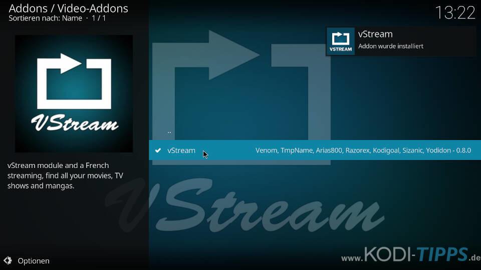 vStream Kodi Addon installieren - Schritt 10