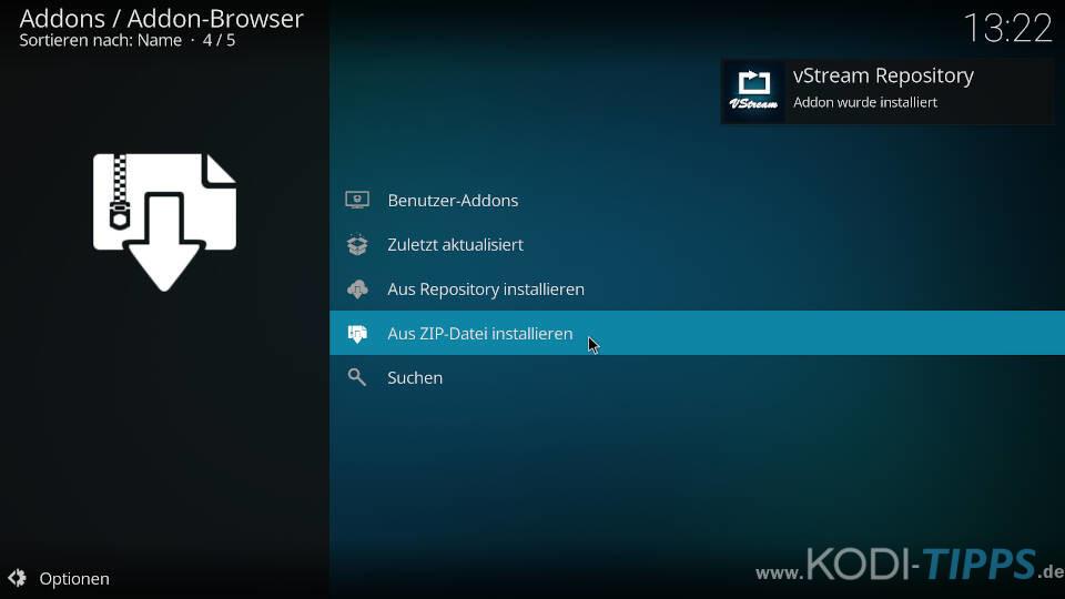vStream Kodi Addon installieren - Schritt 3